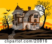 Haunted Spooky Halloween Mansion At Sunset With Flying Bats Bare Trees And Silhouetted Headstones