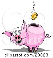 Clipart Picture Of A Happy Piggy Bank Watching A Euro Coin Fall Into The Slot In Its Back by Holger Bogen