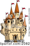 Clipart Picture Of A Large Castle With The Gate Down For Visiters And Red Flags Flying From The Towers by Holger Bogen #COLLC20824-0045