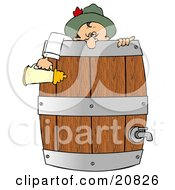 Drunk Oktoberfest Man In Costume Leaning Over A Wooden Beer Keg Barrel And Holding A Stein