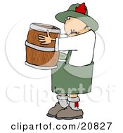 Oktoberfest Man In Costume Carrying A Wooden Beer Keg Barrel