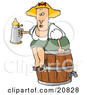 Tipsy Blond Oktoberfest Woman In Costume Sitting On A Wooden Beer Keg Barrel And Drinking From A Stein