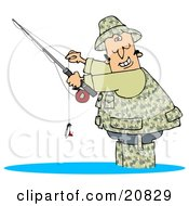 Clipart Illustration Of A Happy Man Dressed In Camouflage Gear Wading In Water And Holding His Fishing Pool While Smiling