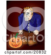 Clipart Illustration Of Frankenstein Looking Down At A Glowing Jack O Lantern Pumpkin