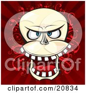 Clipart Illustration Of A Laughing Evil Human Skeleton Head With Teeth Over A Red Vine And Striped Background