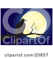 Clipart Illustration Of A Creepy Crow Perched Beside A Spiderweb On A Tree Branch Silhouetted Against A Full Moon At Night