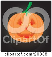 Clipart Illustration Of An Evil Grinning Carved Jack O Lantern Pumpkin Glowing From Candlelight