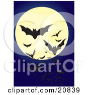 Clipart Illustration Of Swarming Flying Vampire Bats Silhouetted Against A Full Moon In A Night Sky