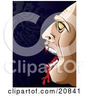Clipart Illustration Of Count Dracula Laughing With Blood Dripping From His Fangs After Making A Kill by Paulo Resende