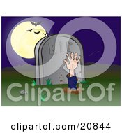 Clipart Illustration Of A Zombie Hand Reaching Up Through The Earth In A Cemetary Bats Flying In Front Of A Full Moon