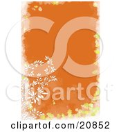 Clipart Illustration Of A Branch Of White Weeds Over An Orange Background With A Yellow And White Floral Frame