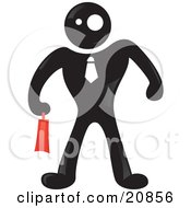 Clipart Illustration Of A Blackman Character Businessman Wearing A Tie And Carrying A Red Briefcase by Paulo Resende