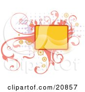Clipart Illustration Of A Blank Yellow Box Over Elegant Pink Vines And Retro Dots Over A White Background