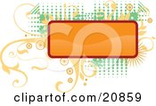 Clipart Illustration Of A Blank Orange Rectangular Box Over Elegant Yellow Vines And Retro Green Dots Over A White Background