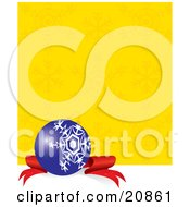 Clipart Illustration Of An Elegant Blue Christmas Bauble With A White Snowflake Design Resting On A Red Ribbon Against A Yellow Snow Flake Background