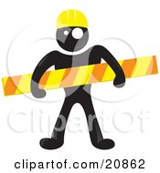 Blackman Character Wearing A Yellow Hardhat And Holding A Construction Bar