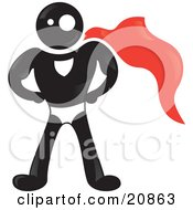 Clipart Illustration Of A Strong Blackman Character Wearing A Red Super Hero Cape by Paulo Resende