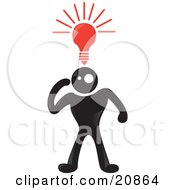 Clipart Illustration Of A Creative Blackman Character With A Red Lightbulb Shining Above His Head