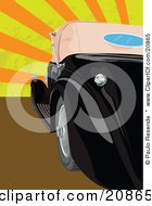 Clipart Illustration Of A Shiny Black Vintage Convertible Car Parked Against A Striped Orange And Yellow Retro Revival Background by Paulo Resende