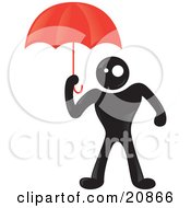 Blackman Character Protecting Himself From Rain Under A Red Umbrella