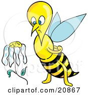 Clipart Illustration Of A Depressed Honeybee Staring At A Wilting Daisy Flower