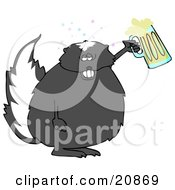 Chubby Skunk Getting Drunk And Holding Up A Mug Of Beer At A Party Or Oktoberfest
