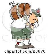 Strong Oktoberfest Man In Costume Carrying A Heavy Wooden Beer Barrel Keg On His Back