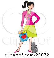 Clipart Illustration Of A Young Caucasian Woman Holding A Shopping Bag And Standing With A Cat Rubbing Against Her Leg by Maria Bell