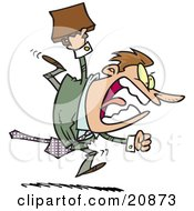 Clipart Illustration Of A Screaming Angry Businessman Running And Charging Forward With A Briefcase by toonaday