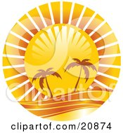 Clipart Illustration Of Two Silhouetted Palm Trees Along The Waters Edge Under A Bright Sun