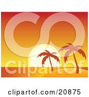 Clipart Illustration Of A Deep Red And Orange Sunset On The Horizon With Palm Trees On A Deserted Tropical Island by elaineitalia