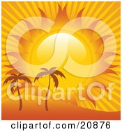 Clipart Illustration Of Heat From The Sun Shining Down On Two Palm Trees On A Sandy Landscape by elaineitalia