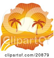 Clipart Illustration Of Palm Trees Silhouetted Under An Orange Sunset On A Tropical Beach