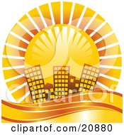 Clipart Illustration Of A Bright Orange Sun Shining Over A Coastal City by elaineitalia