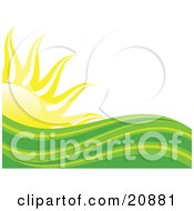 Clipart Illustration Of Abstract Green And Yellow Heat Waves In Front Of A Bright Yellow Sun