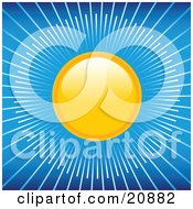 Clipart Illustration Of The Yellow Sun Shining In A Blue Sky Rays Of Light Beaming Outwards by elaineitalia
