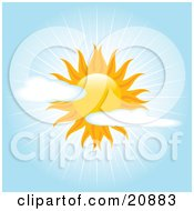 Clipart Illustration Of A Beautiful Sun In A Partially Cloudy Blue Sky With Bright Beams Of Sunshine by elaineitalia