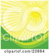 Clipart Illustration Of Bright Rays Of Light Beating Down On Rolling Green Hills In A Meadow