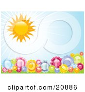 Clipart Illustration Of Flourishing Colorful Garden Flowers Being Warmed By The Summer Sunshine by elaineitalia