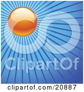 Clipart Illustration Of An Orange Evening Sun With Blue Rays Of Light Over A Blue Sky