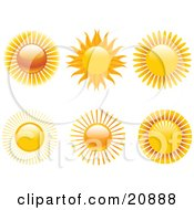 Clipart Illustration Of A Collection Of 6 Hot Suns With Rays Over A White Background