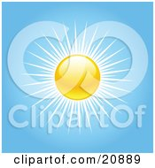 Clipart Illustration Of A Yellow Sun With White Rays In A Blue Sky