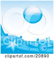 Clipart Illustration Of A Blue Sun Over An Icy Blue Ocean With Stars Leaping Out Of The Water