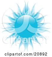 Clipart Illustration Of A Cold Blue Sun With Dark And Pale Blue Rays Over White