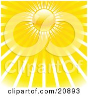 Clipart Illustration Of A Morning Sky With A Yellow Sun And Rays Of Sunshine