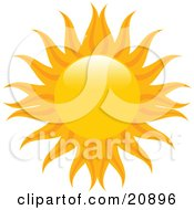 Clipart Illustration Of An Orange Sun With Yellow And Orange Radiating Arms Over White