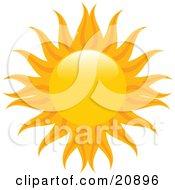 Orange Sun With Yellow And Orange Radiating Arms Over White by elaineitalia