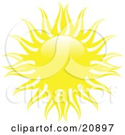 Clipart Illustration Of A Bright Yellow Sun With White And Yellow Waves Of Heat Over A White Background