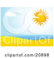 Clipart Illustration Of The Sun Shining Brightly In A Partly Cloudy Sky Over A Sandy Beach And The Ocean