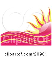 Clipart Illustration Of Abstract Pink Red And Yellow Heat Waves In Front Of A Pink And Yellow Sun